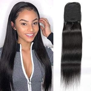 Ponytails diritte 100g / piece capelli umani brasiliani di estensioni serica della coda di cavallino 8-24inch Natural Color