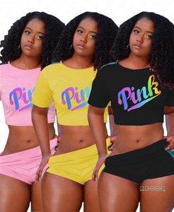 Женщины дизайнер спортивный костюм красочные буквы футболка растениеводство топы + шорты 2 шт. наборы летний спортивный костюм наряды полосатая спортивная одежда Одежда D42202