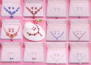Charming Red Blue Bridal Jewelry 2 Pieces Sets Necklace Earrings Bridal Jewelry Bridal Accessories Wedding Jewelry T215035