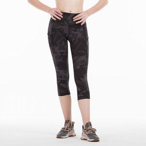 Capris Egzersiz Spor Giyim Spor Wear Koşu Kadınlar Cep Spor Tozluklar Yoga Pantolon Tayt Yüksek Bel