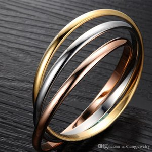 Pop High Fashion Key4fashion PB50 2018 hot sell -quality three rounds and colors gold plate for lovers bangle
