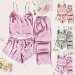 Mulheres Silk Satin Pajama Define Sólidos Pijamas 2020 Ladies Verão Sling Lace V-Neck Camis + Calções + Pants 3Pcs Nightwear Homewear