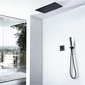 Осадков LED Shower Head Rectangle Черный дождь душ Water Power Light Смесители для душа Наборы Массажные ванной Душевые