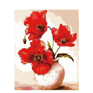 Frameless Red Flowers Diy Painting By Numbers Calligraphy Painting Modern Wall Art Picture For Home Wall Decor Artwork