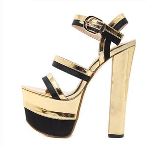 Women Gladiator Sandals Pumps Shoes Sexy Golden Stage Super High Platform Buckle Strap Sandals Summer Party Shoes