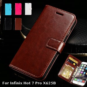 Infinix Hot 7 Pro X625B Crazy Horse Wallet Card Cell Phone Leather Case Holster Bracket 4045