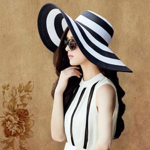 Yaz Güneş Şapka Kadınlar Için Straw Geniş Ağız Şerit Baskılı Kapaklar Lady Kızlar Plaj Vintage Disket Kap UV Koruma Yeni C18122501