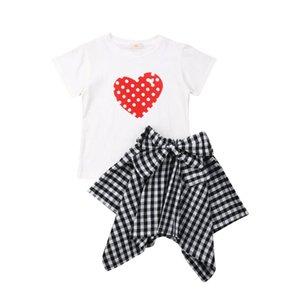 Pudcoco 2019 Enfants d'été Vêtements de bébé enfants tout-petits Fille de coeur T-Tops impression chemise à carreaux Jupe 2Pcs doux Tenues enfants Vêtements