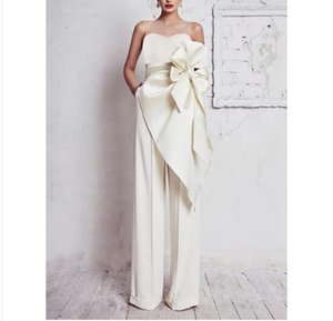 White Strapless Off Shoulder Bow Rompers Women Jumpsuit Sleeveless Backless Sexy Club Wide Leg Pants Palysuits Overalls