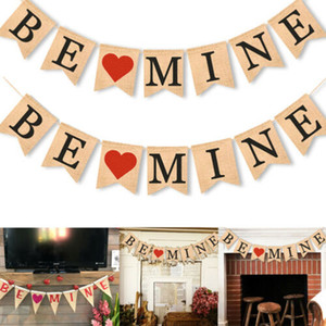 Banner Linen Flag BE MINE Party Valentine Bunting Triangle Flag Wedding Supply