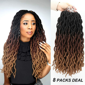"""Wavy Gypsy Locs Ombre Crochet Hair 18"""" 8Packs Lot Goddess Locs Faux Locs African Roots Dreadlocs Synthetic Braiding Hair Extensions"""