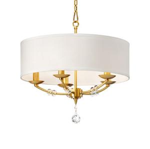 Lámpara colgante americana moderna simple nuevo producto diseñador tela de cobre estudio de arte lámpara de la sala dormitorio de cristal lámpara LLFA