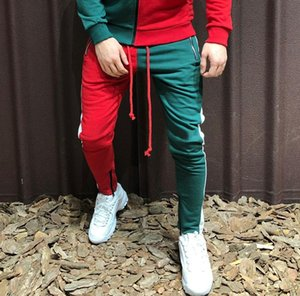 Повседневная Мужчины Брюки молния контрастного цвета Тощий карандаш брюки моды Street Style Hip Hop шаровары Sweatpants