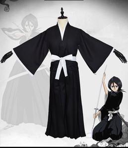 Bleach Shinigami Ichigo Rukia Renji Kendo Black Kimono Cosplay Costume
