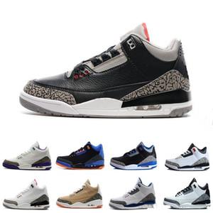 2019 Retro Katrina 3 s Quai 54 erkekler nike Jordan Jordans air jordan jordans retro Retro 3 Tinker JTH Saf beyaz Siyah Çimento Uluslararası Uçuş Ücretsiz Atış Hattı rahat ayakkabılar boyutu 8-13