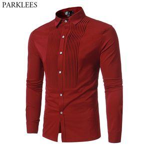 Fashion Pleat Lapel Red Shirt Men 2018 Autumn New Slim Fit Long Sleeve Tuxedo Shirt Male Wedding Dinner Party Chemise Homme S-XL