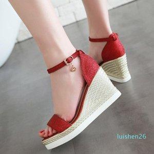 Fashion shoes woman Sequins Casual Wedges Sandals Platform High Heel Sandals women shoes sandalia feminina zapatos de mujerl l26