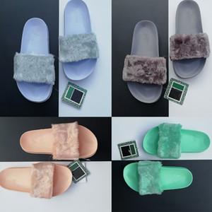Pantofole da uomo di design di alta qualità Leadcat Fenty Pantofole in pelliccia sintetica Rihanna Donna Sandali da ragazza Scuff di moda Nero Rosa Rosso Grigio Blu Scivoli