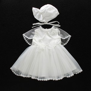 Baby Girls Baptism Dresses with Hat Lace Sleeveless Newborn Christening Gown Christening Dresses Girls Princess Dress Wedding Dress 0-24M