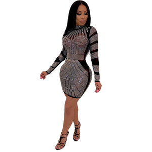 Women New Style Sexy Night Club Fashionable Set auger Round Collar European And American Wind Dresses
