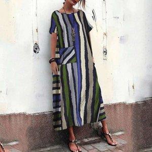 Женская полосатая макси платье летний сарафан ZANZEA 2020 Bohemain повседневная O шеи длинные Vestidos женский короткий рукав халат плюс размер