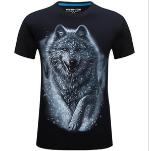 Mens Design Shirt Summer Tops Casual T Shirts for Men Short Sleeve Shirt Brand Clothing 3D Wolf Printed Tees Crew Neck Tops