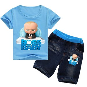2-8Years 2018 Kids Girls Clothes Set Boss Baby Toddler Clothes Toddler Boy Clothes Sets Ensemble Garcon 2pcs Tshirt Jeans