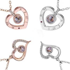 100 языков я люблю тебя ожерелье в форме сердца памяти Свадебный Валентина Женщины Проекция подвеска ожерелья OOA7635-6