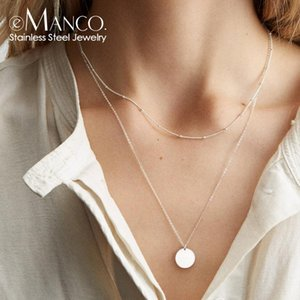 e-Manco korean multilayer choker necklace stainless steel necklace women dainty fashion jewelry