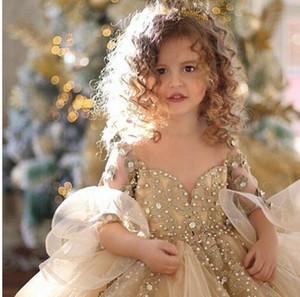 Mignon 2020Champagne robe de bal filles Pageant robes à manches longues perles perles Appliqued Princesse Tulle Puffy Enfants fleurs d'anniversaire de filles Robes