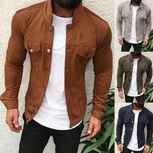 Moomphya tessuto della pelle scamosciata del rivestimento degli uomini Streetwear Vintage Uomini giacca a vento Hip Hop invernali strutturate Mens giacche e cappotti