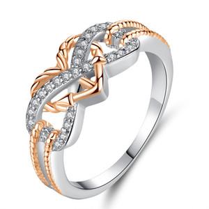 Anéis de moda Infinito Amor Motif dois tons Anchor Coração anel da promessa para o presente dia Anéis alta qualidade dos Namorados