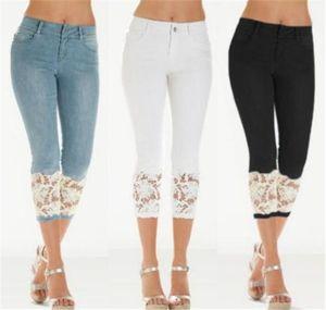 Lace Slim Damen Jeans Skinny Designer Capris Damen Jeans Fashion Solid Color Blue Hose