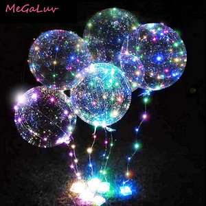 20 pulgadas Luminosa Transparente Bobo Bobo Bubble Bobble Bood Boda Cumpleaños Fiesta Decoraciones LED String Light Up Globos