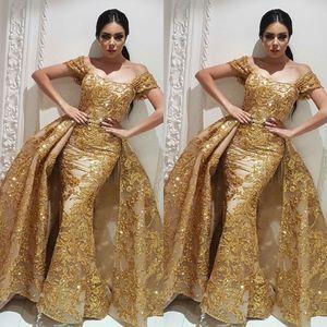 Gold Abendkleider Yousef Aljasmi Dubai Arabisch Abendkleid labourjoisie Kleider Überrock Abnehmbarer Zug Champagner Meerjungfrau Partykleid