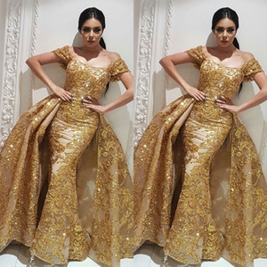 Robes de bal en or Yousef Aljasmi Dubaï robe de soirée arabe labourjoisie robes robe overskirt robe de soirée sirène au champagne