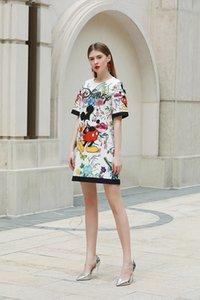 428 2020 Бесплатная доставка Флора печати платье свадебное платье с коротким рукавом бусины выпускного вечера мода тонкий Женская одежда yy