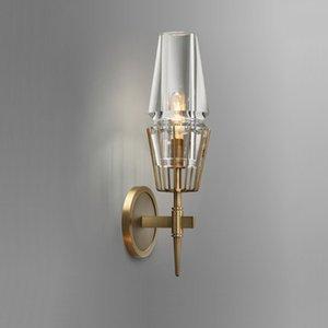 Post-Modern retro Wall Lamp Nordic vidro cobre de ouro levou para casa Quarto parede de vidro Lâmpadas acende Sconce Fixação Bronze