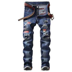 Mcikkny Moda Hombre Ripped Holes Jeans Pantalones Washed Patchwork Stretch Denim Pantalones Hombre Recto