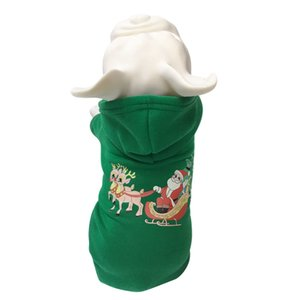 Green Pet Dog Cat Festival Grooming Accessories, Thickening Autumn Winter Costume Dog Christmas Hoodie For French Bulldog
