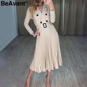 BeAvant V 넥 체크 무늬 재킷 드레스 여성 긴 우아한 주름 드레스 사무실 숙녀 벨트 2019 가을 겨울 vestidos 가운 슬리브