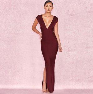 Top quality srtap sexy low bosom v-neck sleeveless wine red backless slit party bodycon pub women long bandage dress