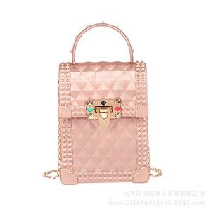Sac d'été de la chaîne de femmes 2020 nouvelle main-Held PVC Femmes Messenger Bag avec Lingge Jelly portefeuille et le téléphone mobile