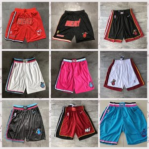 MiamIsı Basketbol Şort Dwayne Wade Jersey Ucuz sadece Kırmızı Yeşil Dikişli Cep Sweatpants mans don Wade Dwayne