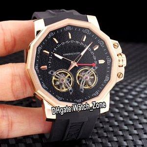 New 48mm Admirals Cup Ac-un retour Fly cool de date A108 / 02339 Double Tourbillon Automatique Mens Watch or rose bracelet en caoutchouc Watch_zone