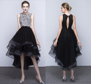 New Black A-Line Formal Evening Dresses Noble Fashion Spring And Autumn Before And After Long Short Hand-Made Bead Club Party Dresses
