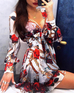 Herbst-Damen Designer-Kleider Sexy V-Ausschnitt Langarm Flora gedruckte Frauen-Kleider mit Schärpen Frauen Bekleidung