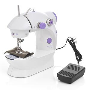 DHL navio Mini Handheld Pedal Máquinas de Costura Dual Speed fio duplo multifunções Tread elétrica Rewind Máquina de costura