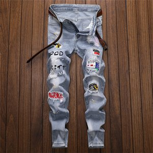 Подросткам Light Омывается Hole Patch Jeans Spring Designer Mens Письмо печати вышивки карандаш штаны Мужчины Повседневная Улица Стиль Брюки