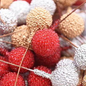 40pcs Yapay Köpük Stamen Meyve Berry Altın Gümüş Kırmızı Çiçekler Buket DIY Stamen Craft Dekor için Düğün Ev Parti Malzemeleri